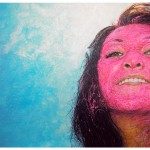 Smiling Aloud In The Sky With Fuchsia Paint